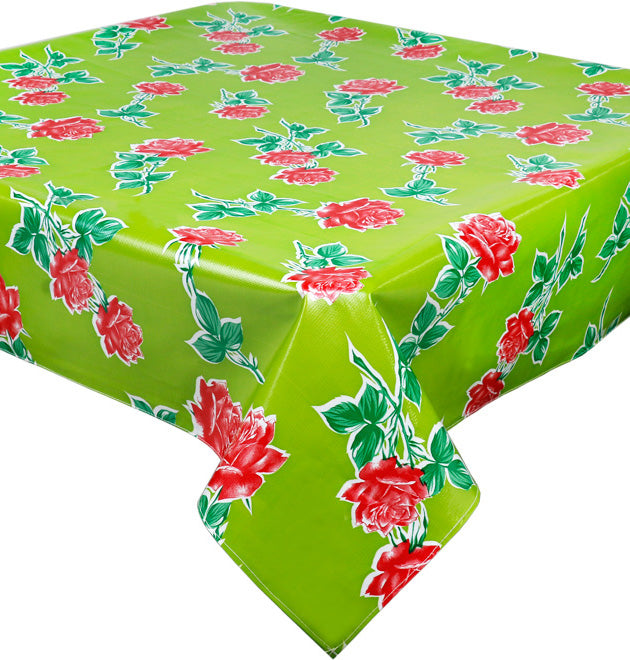 Freckled Sage Vintage Roses on Green Oilcloth Tablecloth