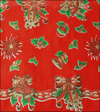Freckled Sage Oilcloth Christmas Bells and Bows on Red swatch