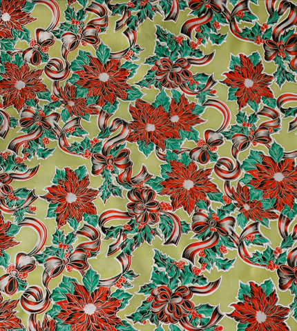 Freckled Sage Oilcloth Christmas Holly Gold