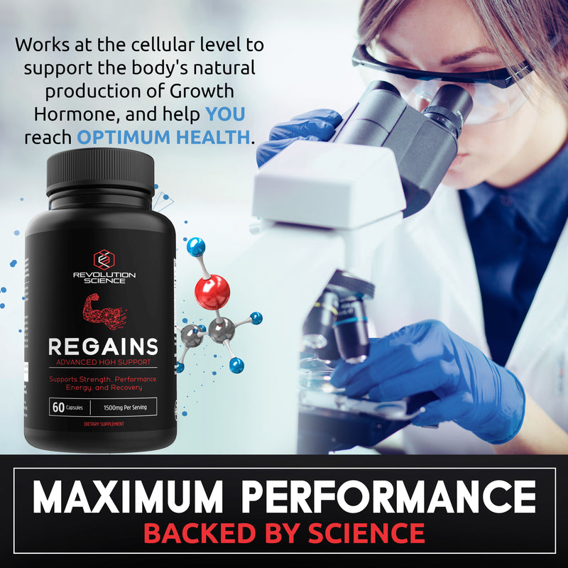REGAINS Natural Human Growth Hormone HGH Support Supplement