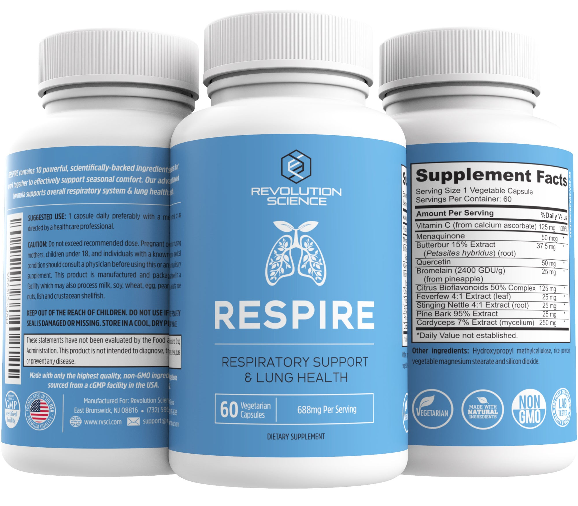 RESPIRE Respiratory Support & Lung Health Supplement - 60 Capsules
