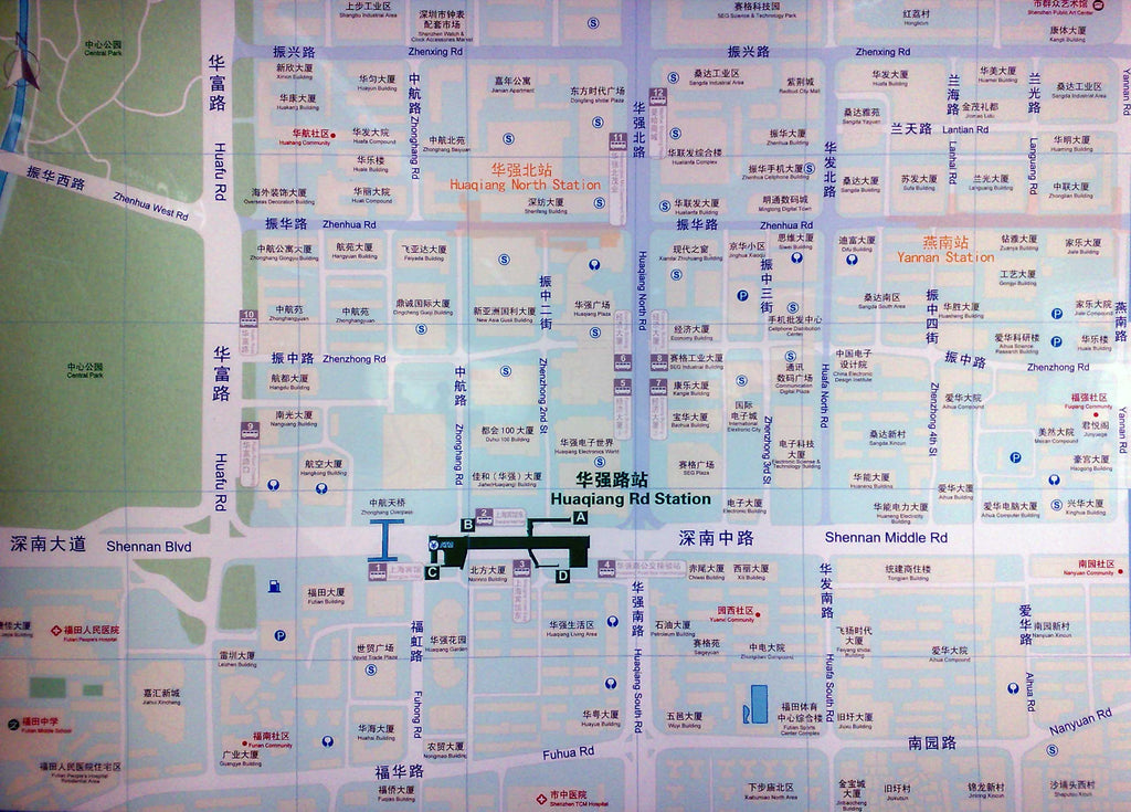 Street Map showing building names in the Huagiangbei area