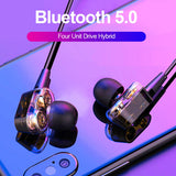 S10 Double Dynamic Hybrid Bluetooth Earphone Wireless Headphones Four Unit Drive