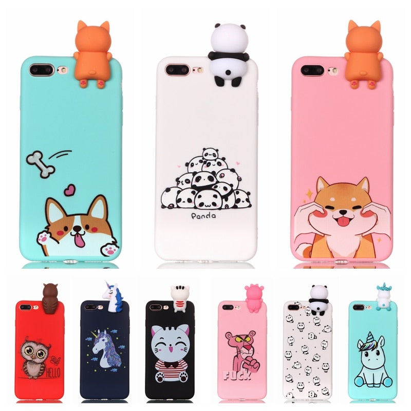 Coque for iPhone 7 7Plus Case 3D Unicorn Panda Dog Silicone Case Cover