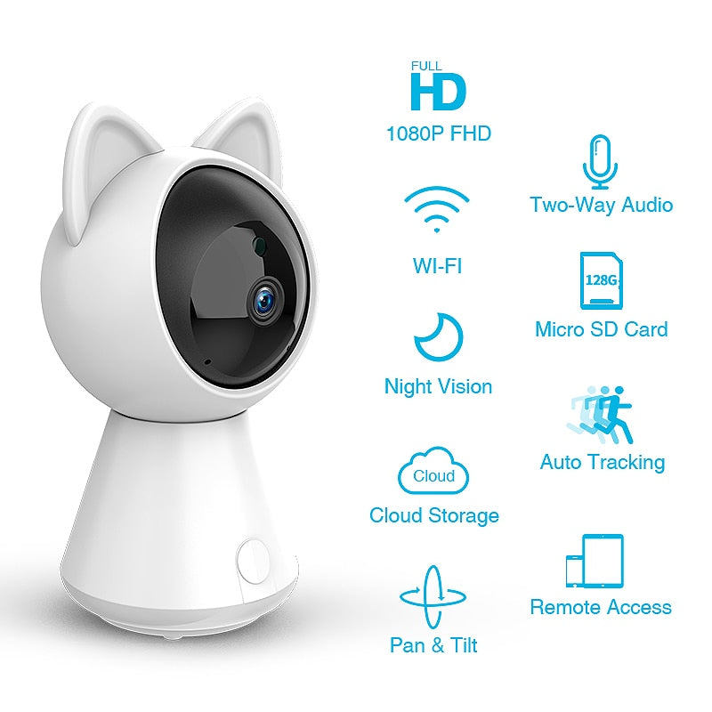 1080P WiFi Kitty Cloud IP Security Camera with Auto Tracking
