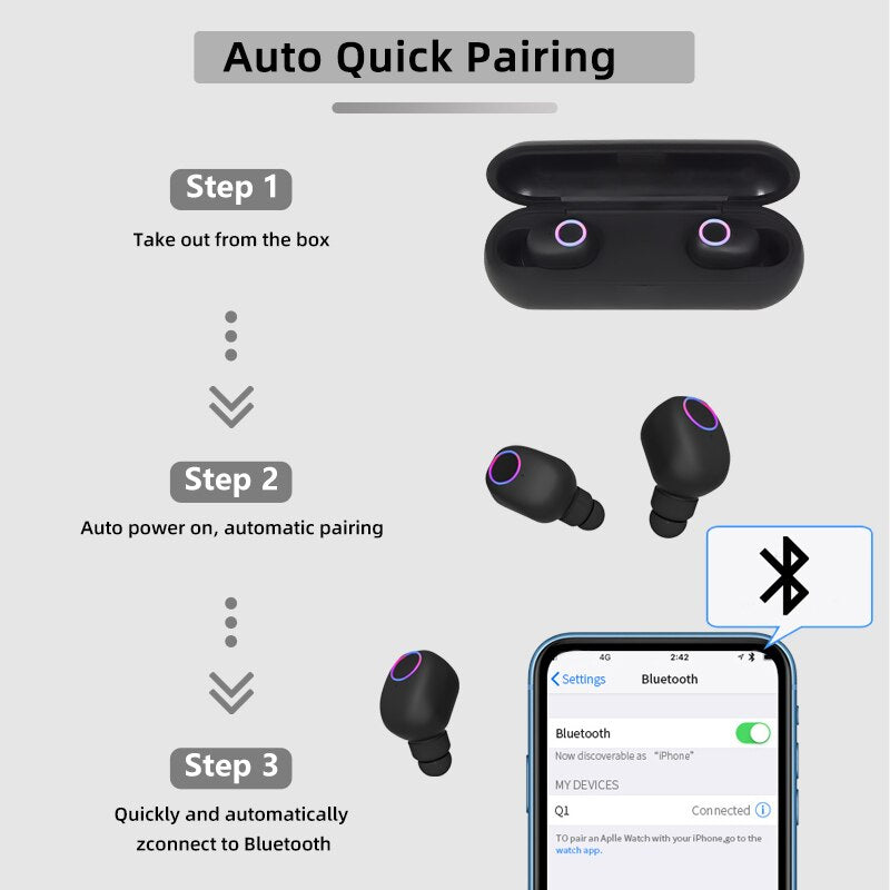 Bluetooth Earphones True Wireless Stereo Q1
