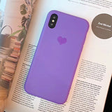 Silicone Candy Color Case for iPhone Love Heart Phone Cover