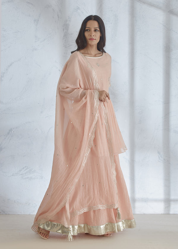 Blush Peach Short Kurta - Crinkled Sharara - Gota Dupatta