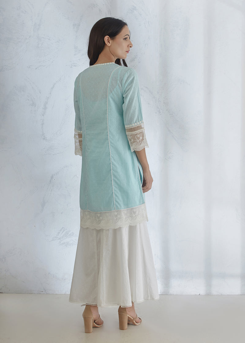 Arctic Blue Short Kurta - Panelled Palazzo Pants