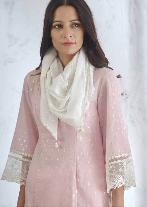 Ivory Cotton Scarf With Lace