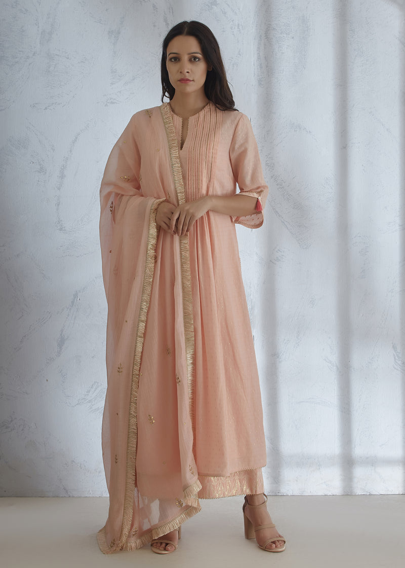 Blush Peach Kurta - Pants - Gota Dupatta