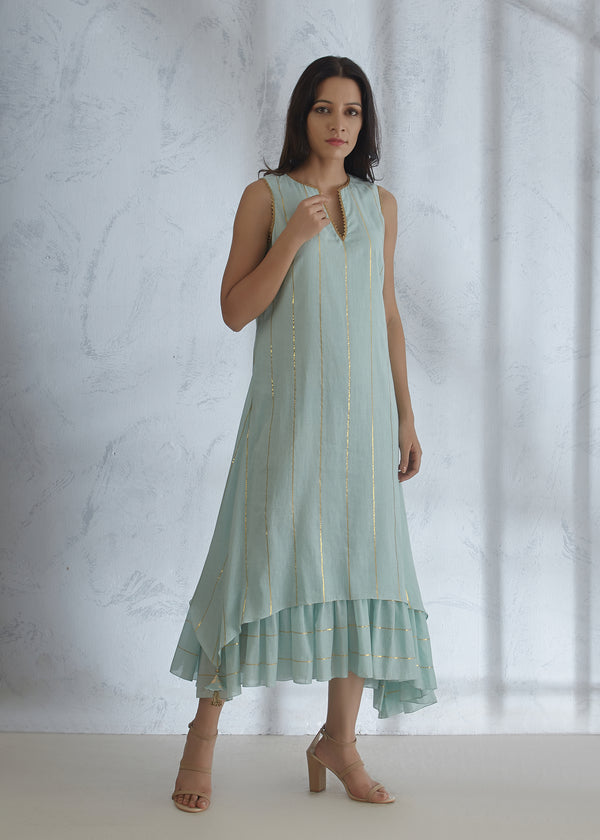 Celeste Blue Gota Pleated Dress