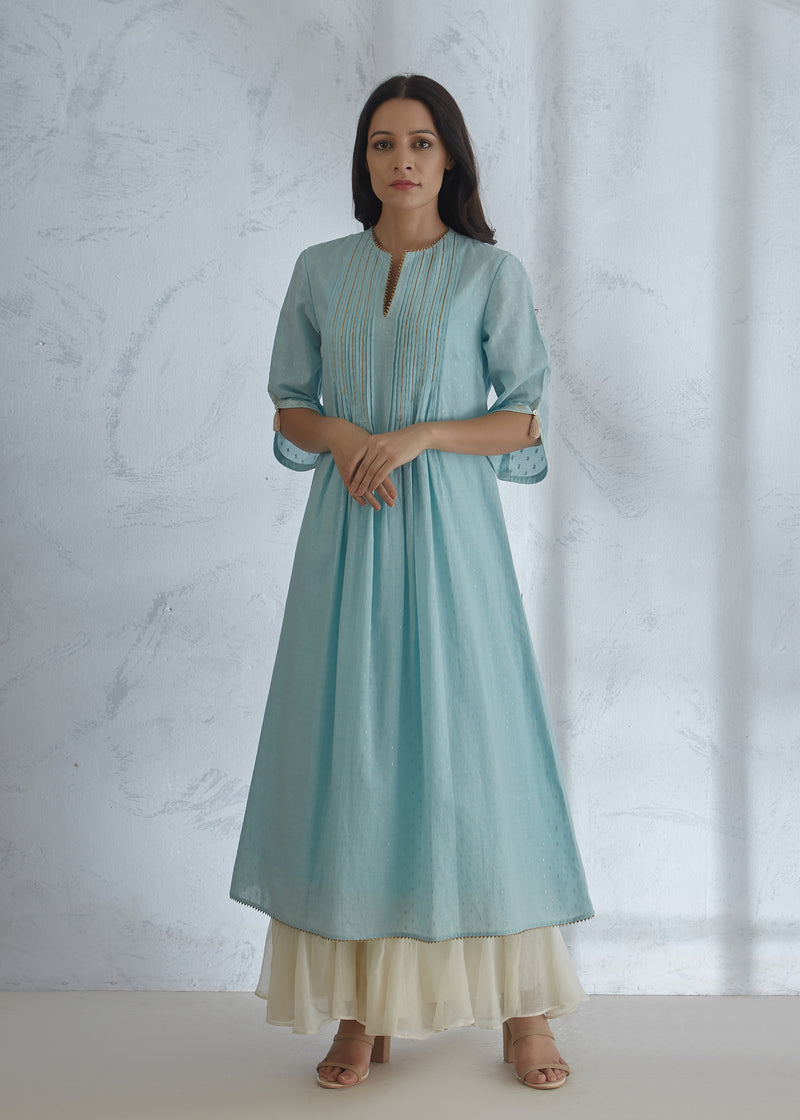 Pastel Blue Kurta - Ivory Tiered Sharara