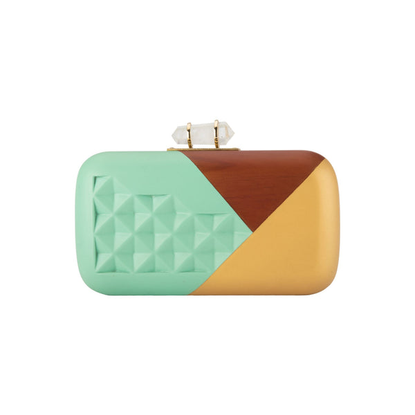 Turquoise & Gold Hand-Carved Pastel Clutch