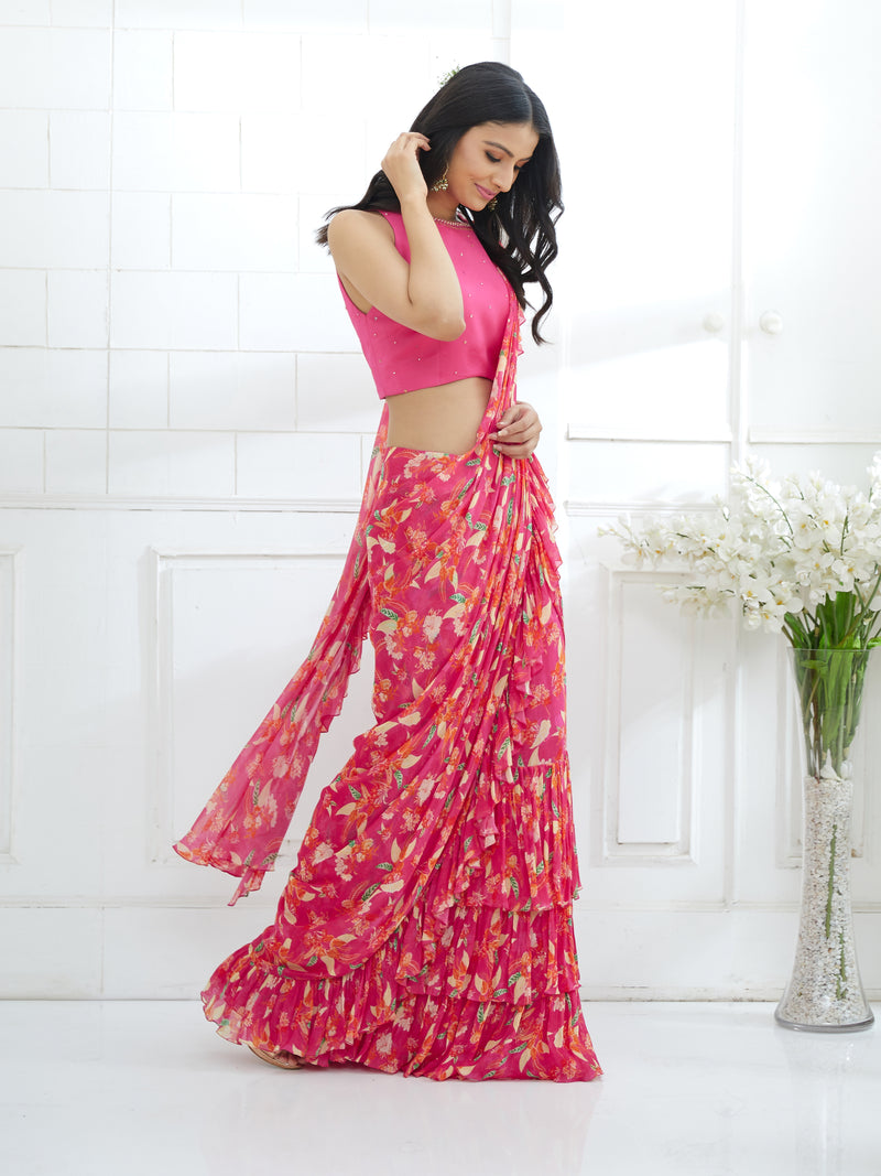 Fuchsia Embroidered Blouse With Printed Ruffled Saree Set