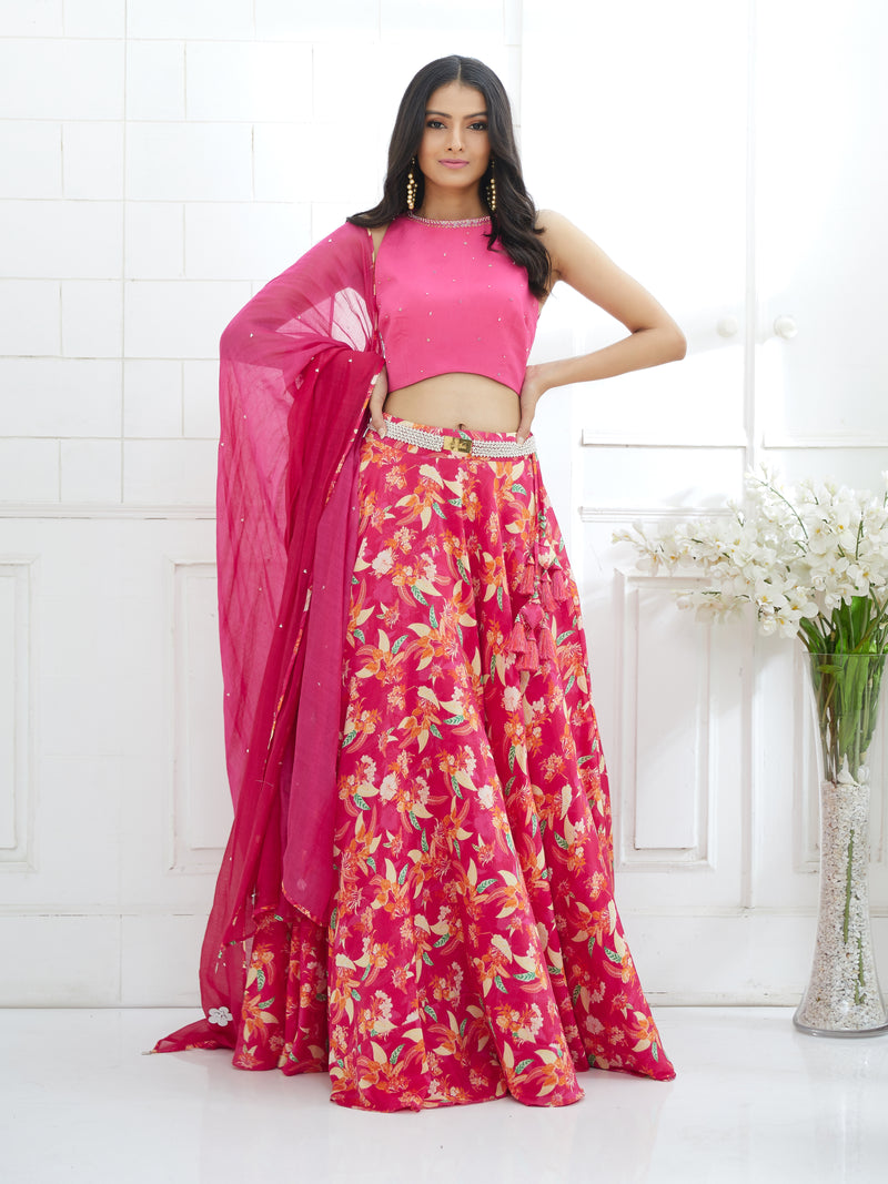 Fuchsia Embroidered Blouse With Printed Lehenga & Ombre Dupatta