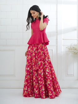 Fuchsia Embroidered Peplum With Printed Lehenga Set