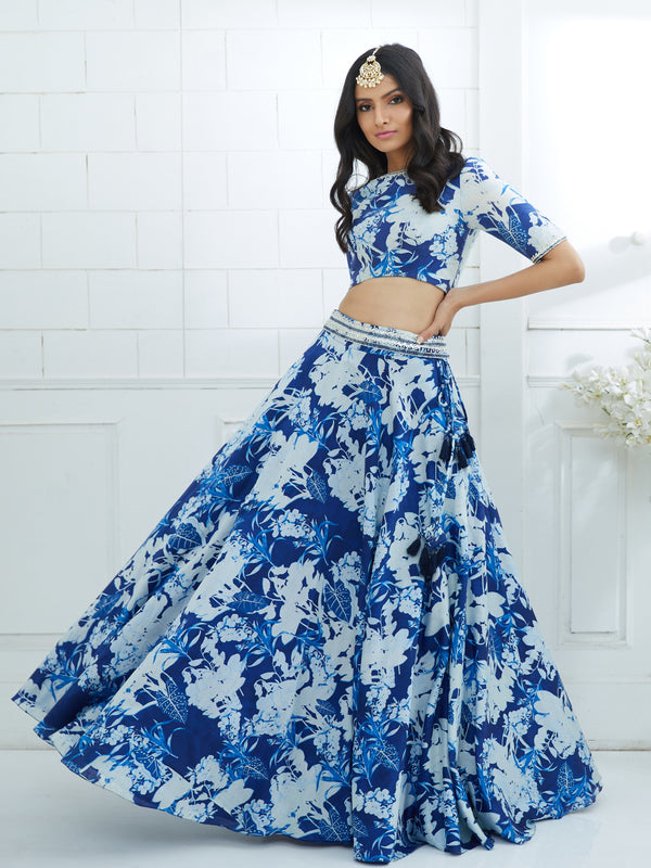 Blue Printed Embroidered Blouse And Lehenga Set