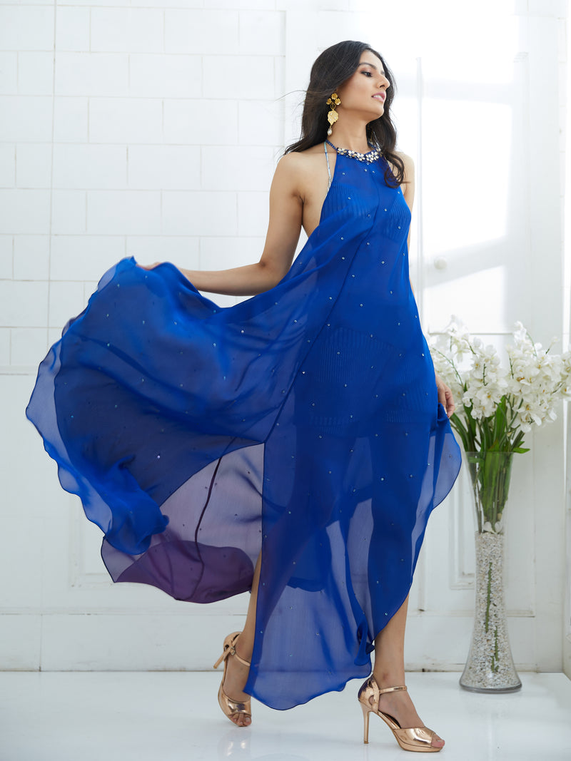 Royal Blue Dress Embellished With Hand Embroidery