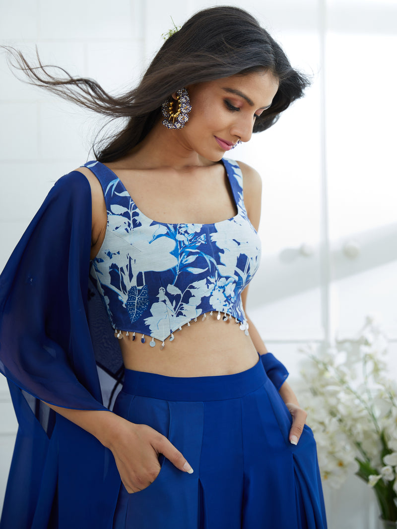 Blue Printed Blouse With Ombre Cape And Pleated Palazzo Set