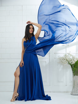 Blue Draped Gown Embellished With Hand Embroidery