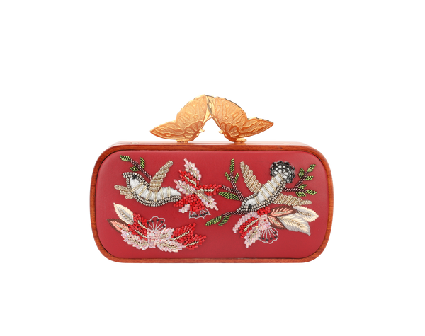 Lost In The Woods Red Evening Clutch