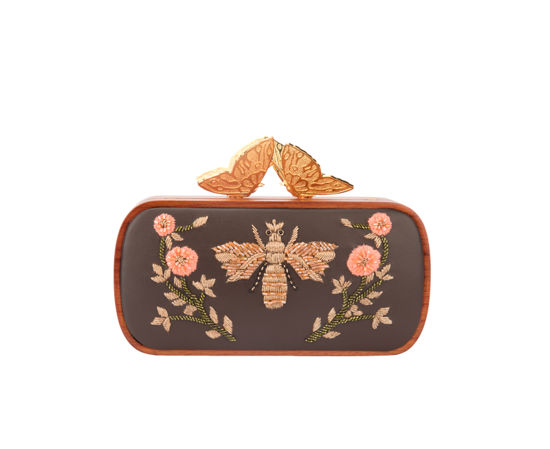 Lost In The Woods Mocha Brown Evening Clutch
