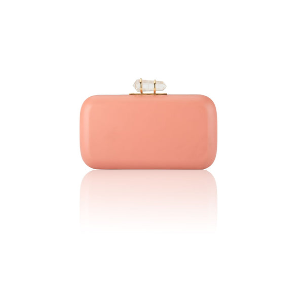 Peach & Blue Hand-Carved Pastel Clutch