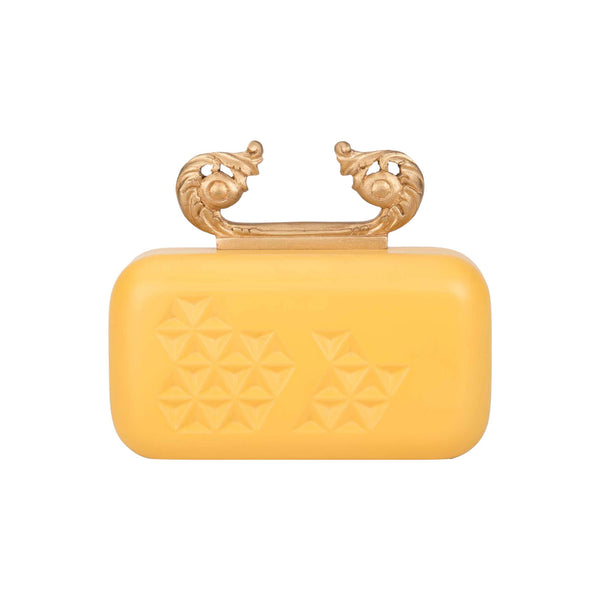 Yellow & Gold Hand-Carved Pastel Clutch