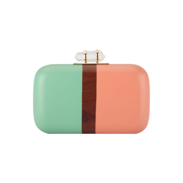 Turquoise & Peach Color Block Clutch