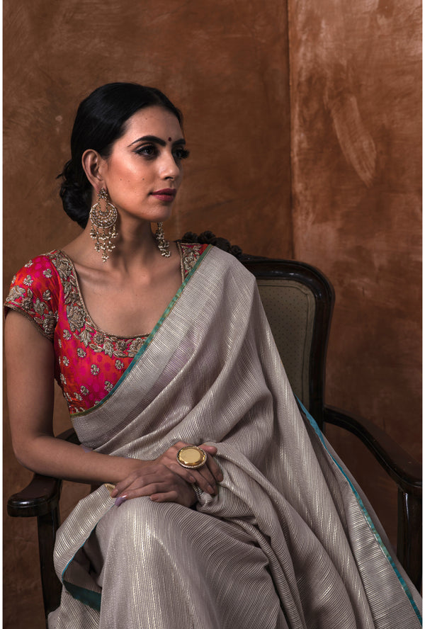 Steel Grey Embroidered Saree and Blouse
