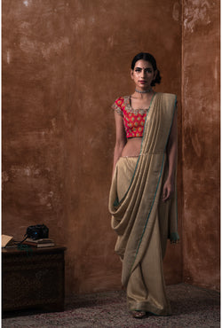 Dusty Gold Embroidered Saree and Blouse