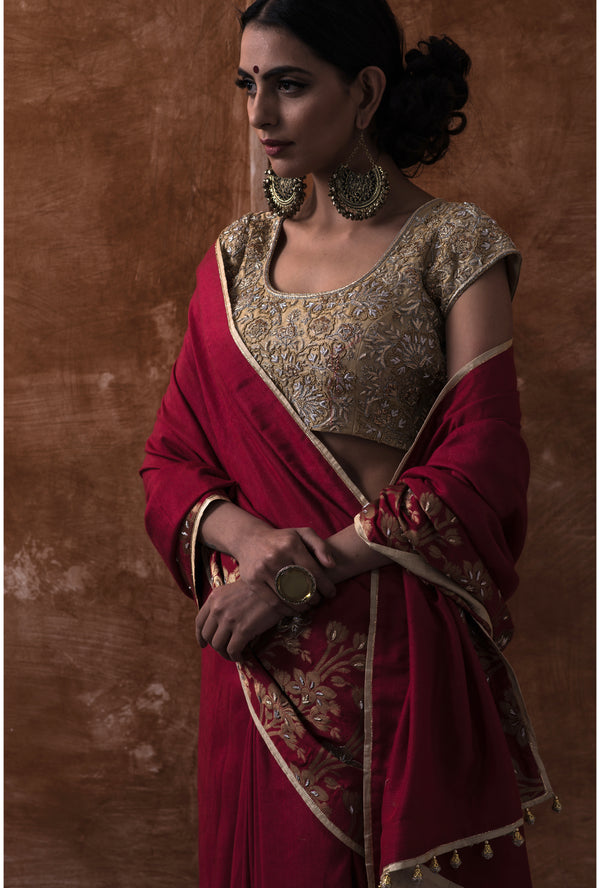 Garnet Red Embroidered Saree and Blouse