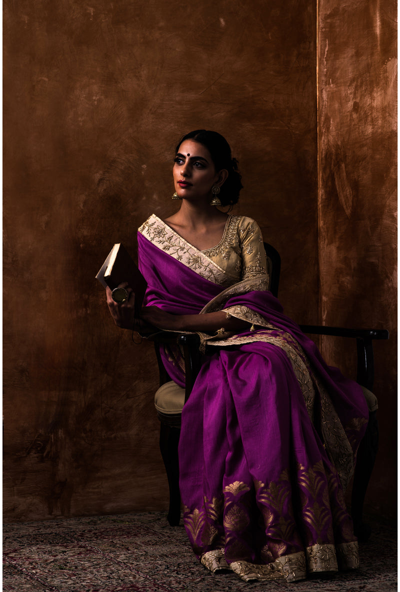 Purple Embroidered Saree and Blouse