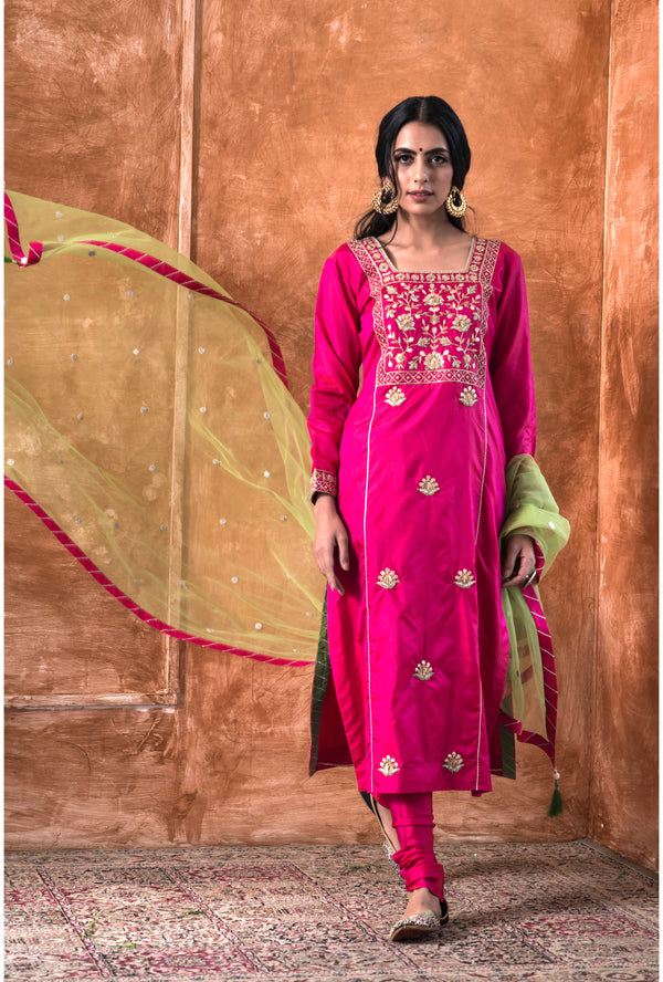 Fuchsia Pink Embroidered Kurta-Churidar Set