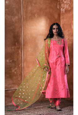 Punch Pink Embroidered Kurta-Churidar Set