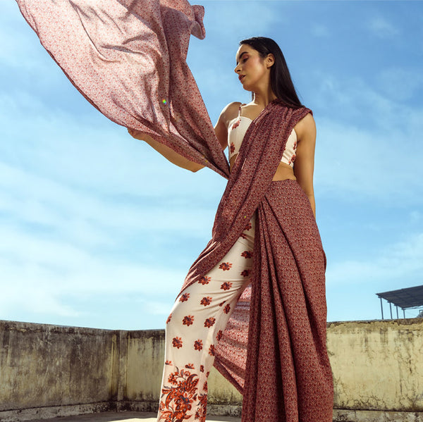 Pink Printed Pants and Plum Saree Set