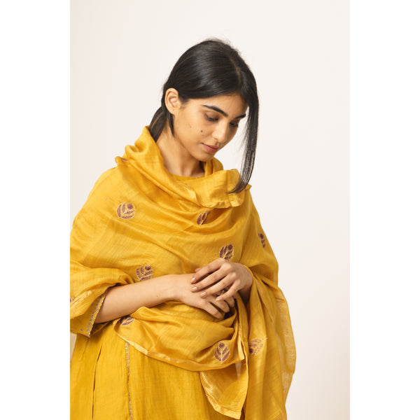 Resham Phool Honey Chanderi Dupatta