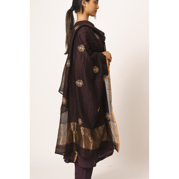 Turkish Buta Plum Chanderi Dupatta