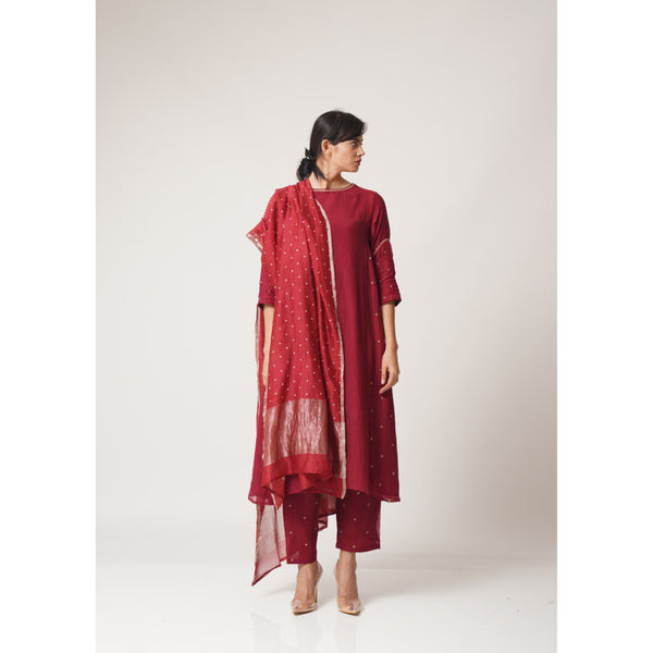 Tara Raspberry Red Chanderi Dupatta