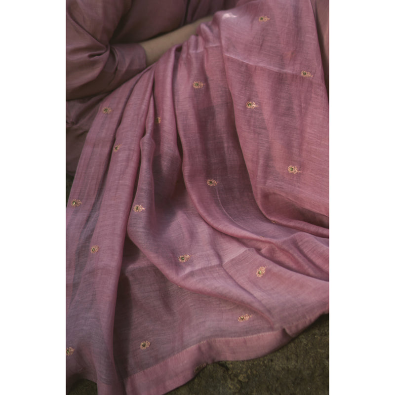Phool Buti Old Rose Chanderi Dupatta