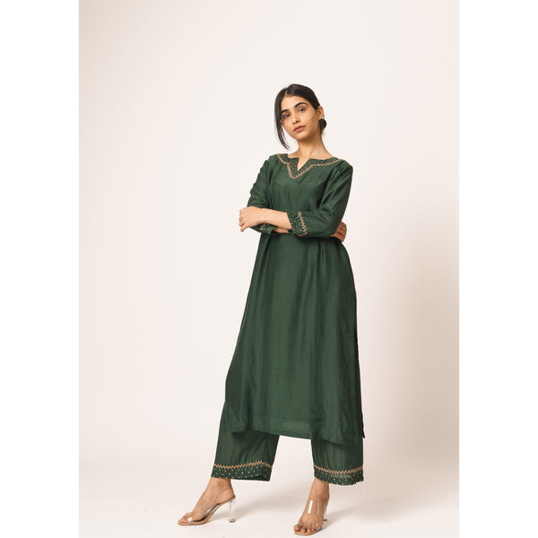 Emerald Green Aayat Kurta-Pant Set