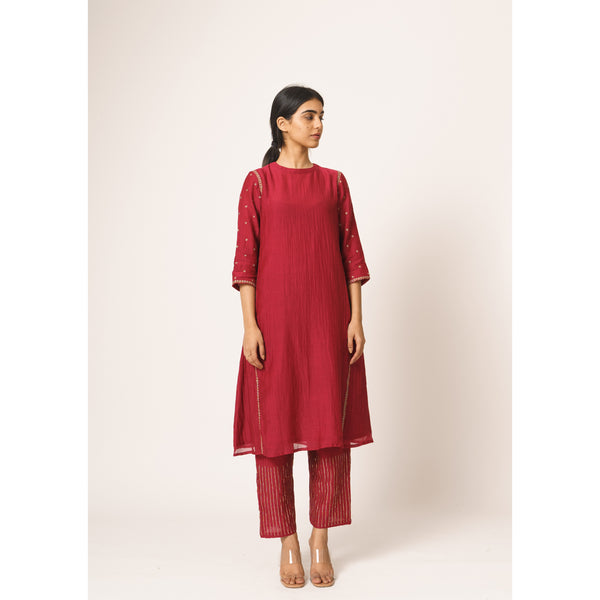 Raspberry Red Aayat Kurta-Pant Set