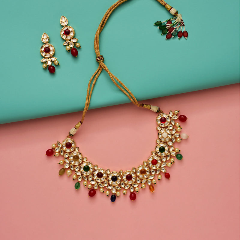 Eclectic Navratan Kundan Necklace Set