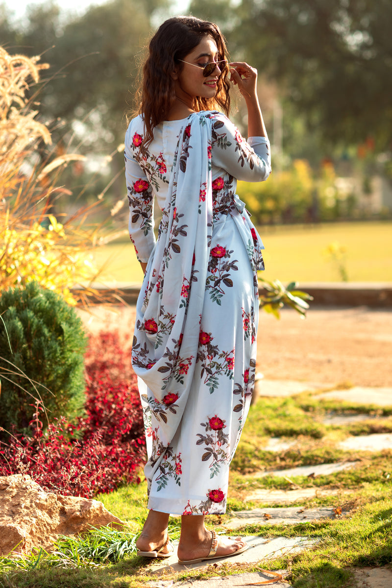 Festive Floral Double Draped Gown