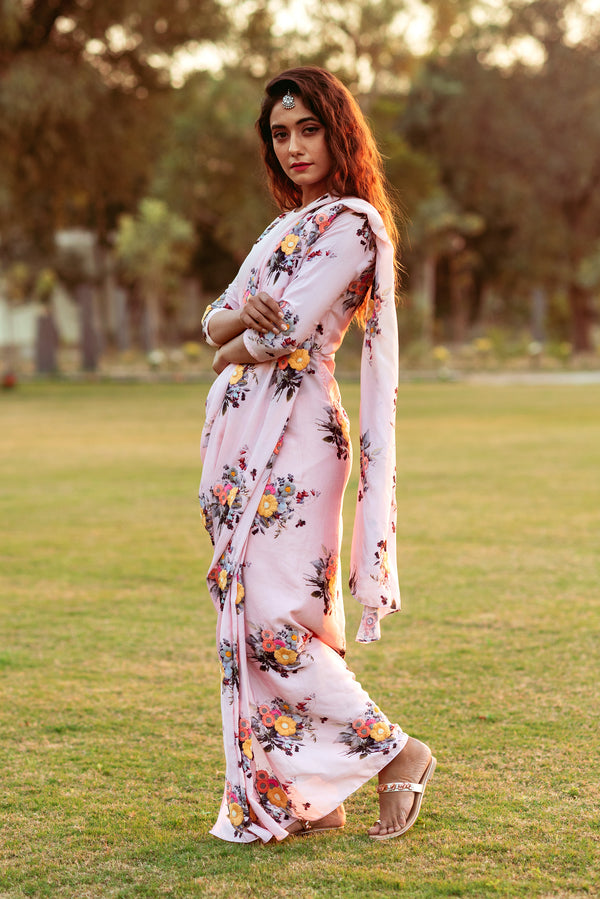 Festive Floral Saree Dress