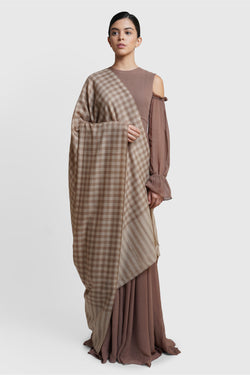 Brown Checkered Cashmere Shawl