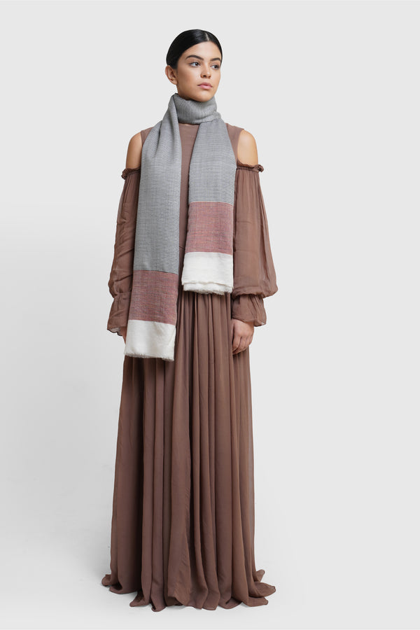 Colour Block Fine Wool Stole