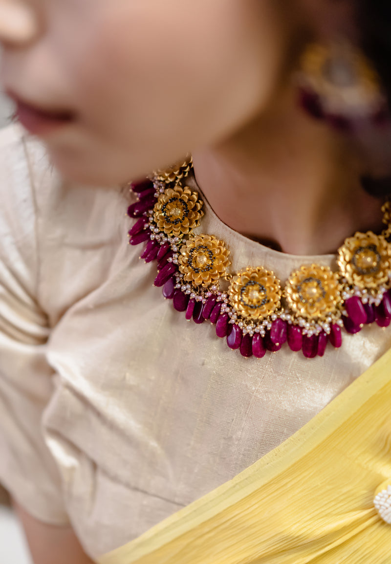 Marigold Necklace - Rani Pink