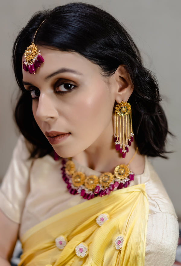 Marigold Tassel Earrings - Rani Pink